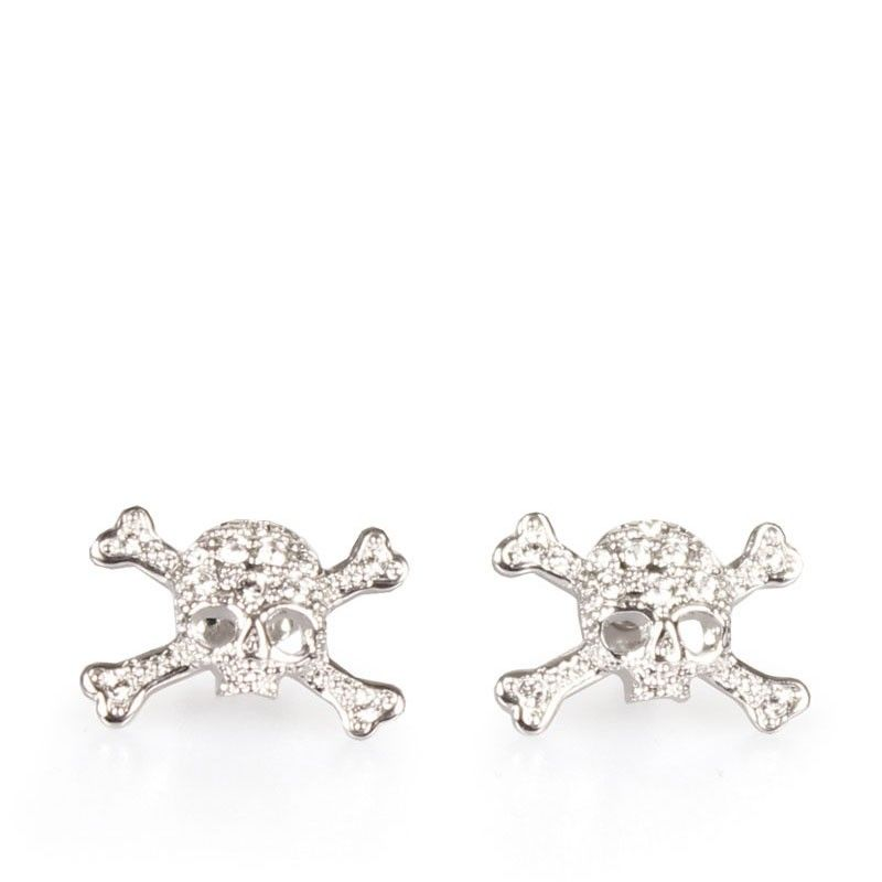 Vivienne Westwood Jewellery At Garmentquarter Bristol Diamante Skull Stud Earrings In Silver With Uk Next Day Shipping