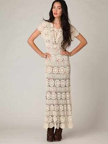 Crinochet Free People Maxi Dress With Circle Motif And Other Runway