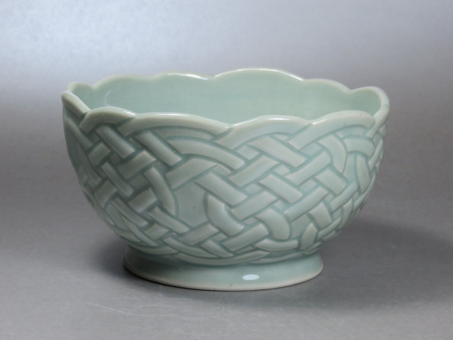 Celadon Celtic Knotwork Bowl by prrpots on Etsy