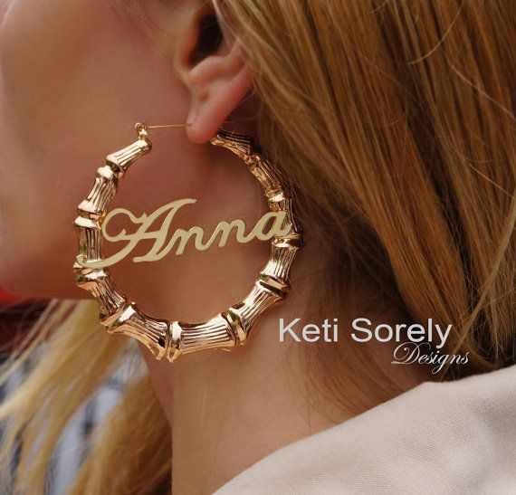 a73342f3b Gold Bamboo Earrings With Your Name - Door Knocker Hoop Earrings (Order Any  Name) - Sterling Silver, Yellow or Rose Gold Overlay