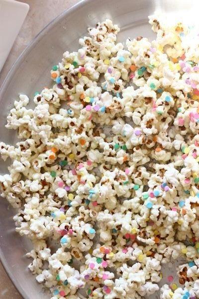 White chocolate confetti popcorn! #recipe #party