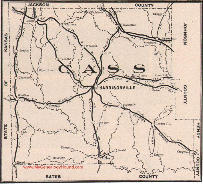 Cass County Missouri 1904 Map Cass County East Lynne History