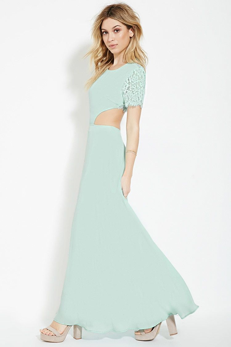 A woven maxi dress featuring scalloped floral lace at its short ...