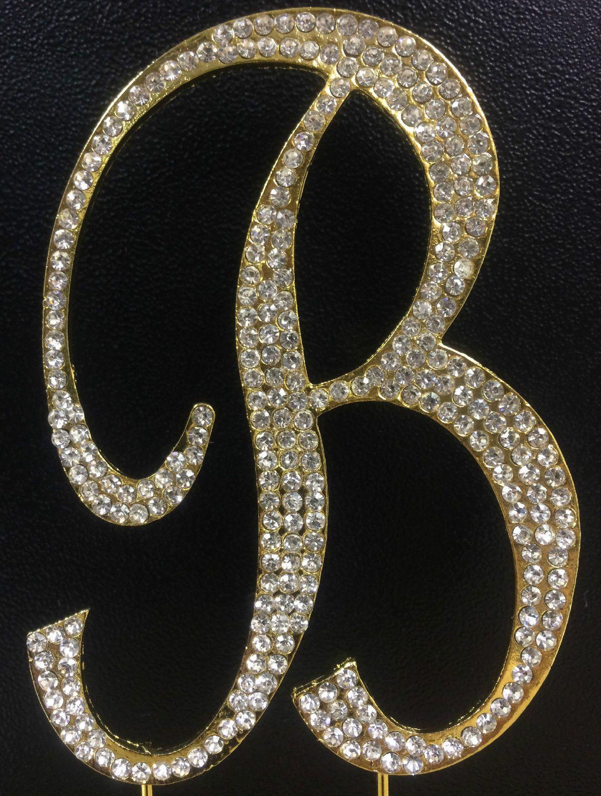 gold plated rhinestone monogram letter b wedding cake