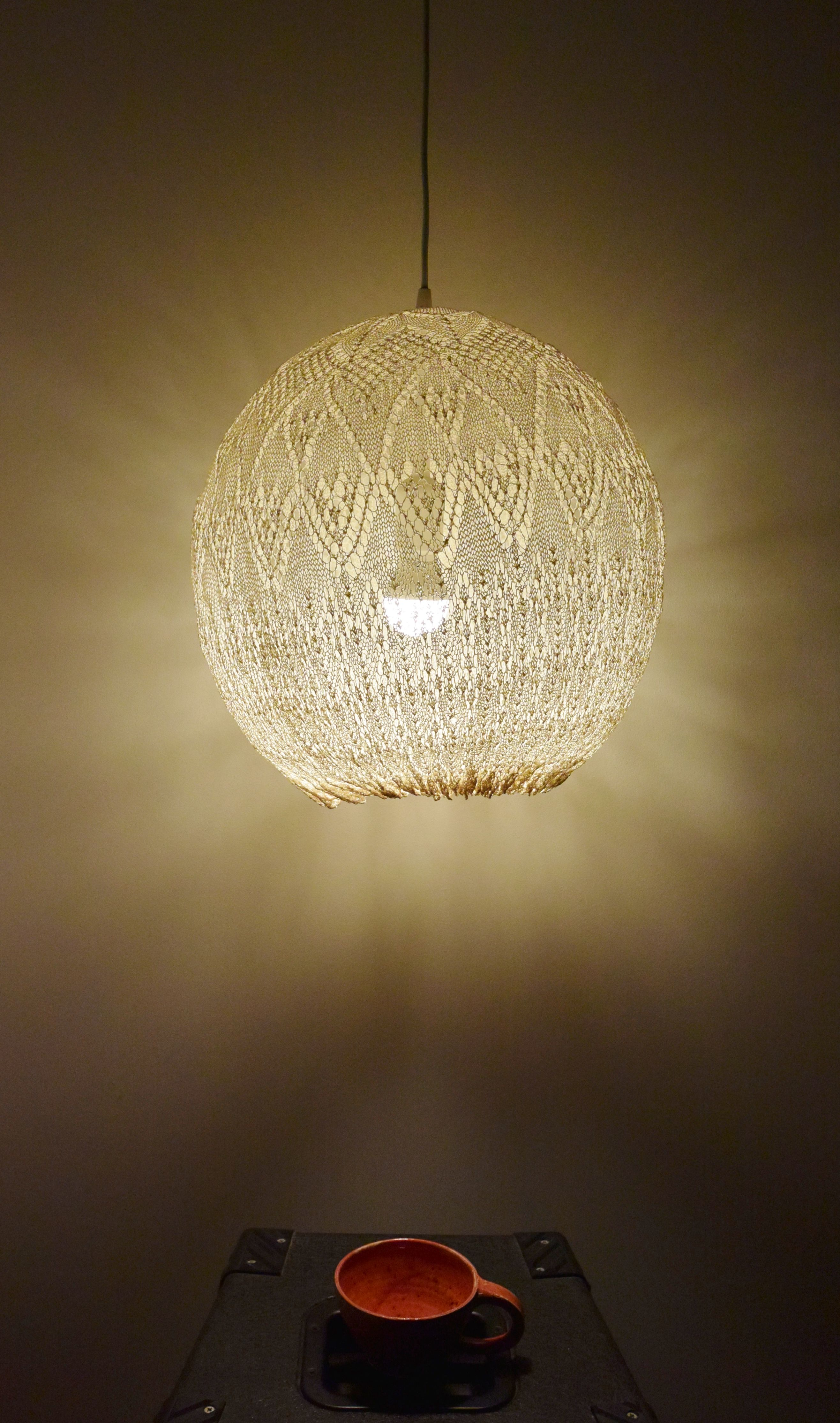 lace handmade lamp hanging from grandmau0027s doilies