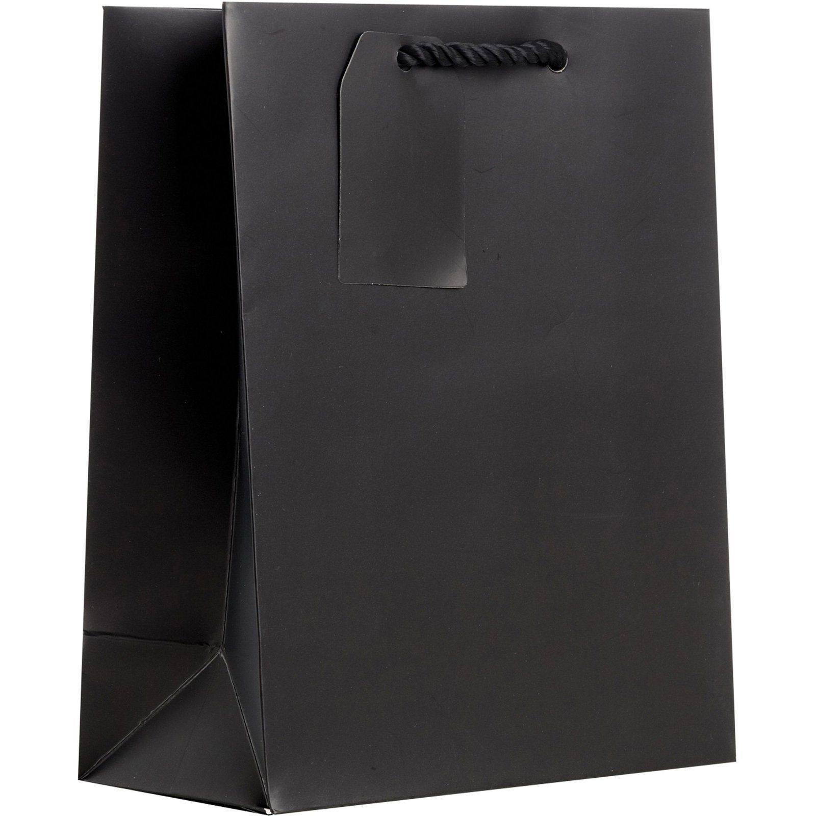 Heavyweight solid color medium gift bags matte black 12