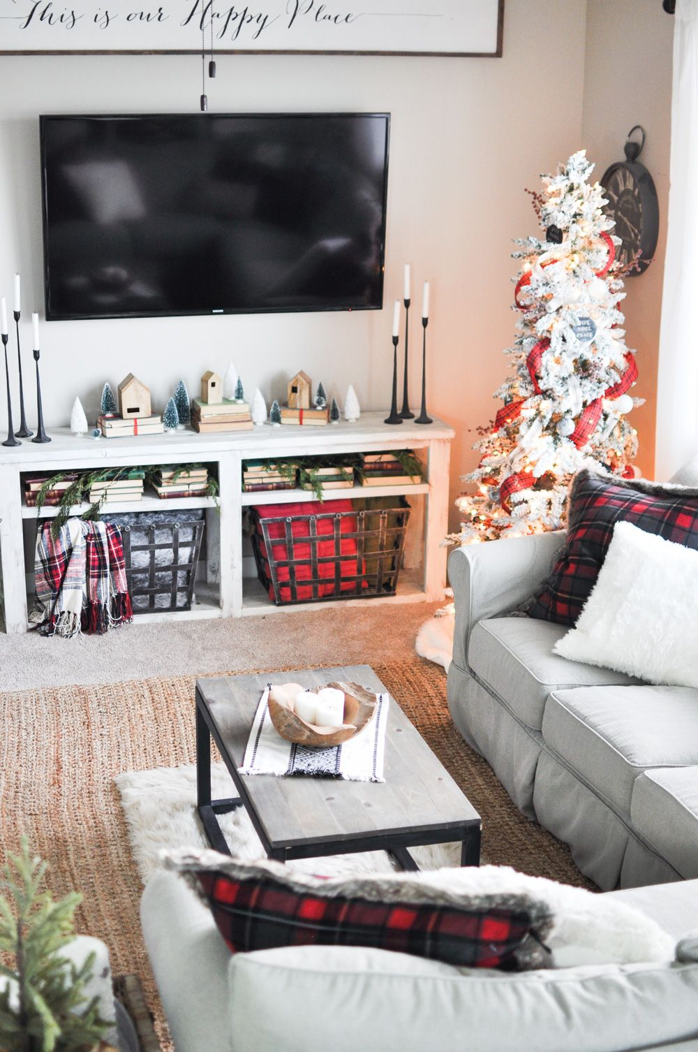simple christmas living room home tour  cherished bliss