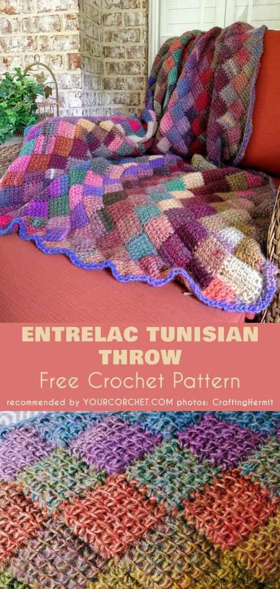 Babyghan Tunisian Crochet Entrelac Throw Free Crochet Pattern And