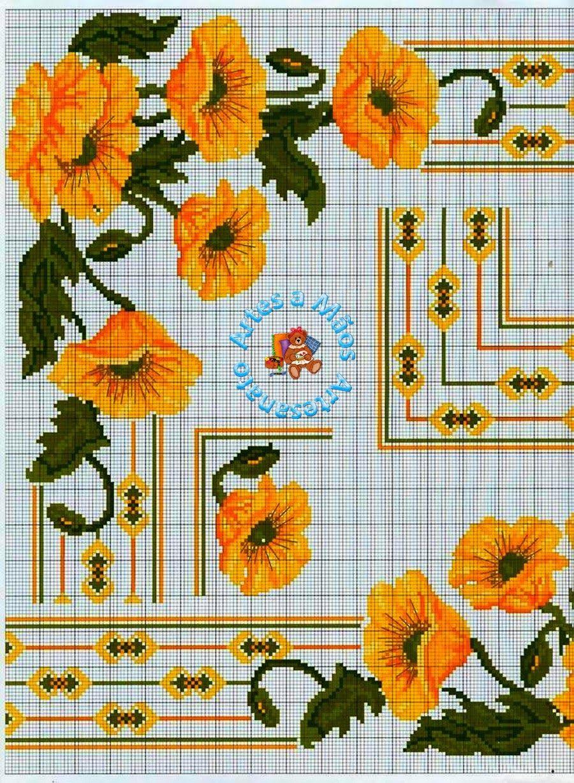 Gráficos Aqui Artesanato Toalha De Mesa Bordada Em Ponto Cruz Flores Ponta E Centro Fonte Ponto Cruz árvore De Ponto Cruz Ponto Cruz Flores