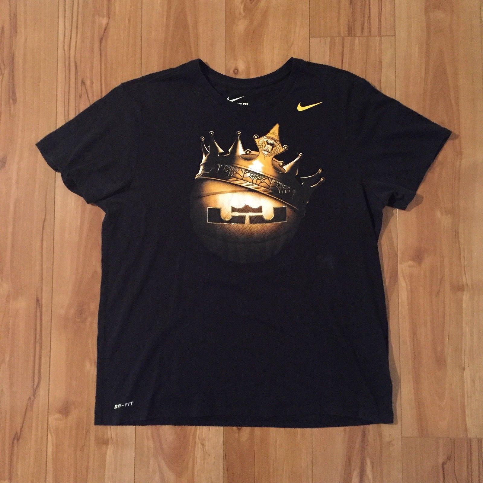 eb168f88e5cf Lebron James King Nike Crown Basketball Dri-Fit T-Shirt Black Youth Boys  2XL XXL | eBay