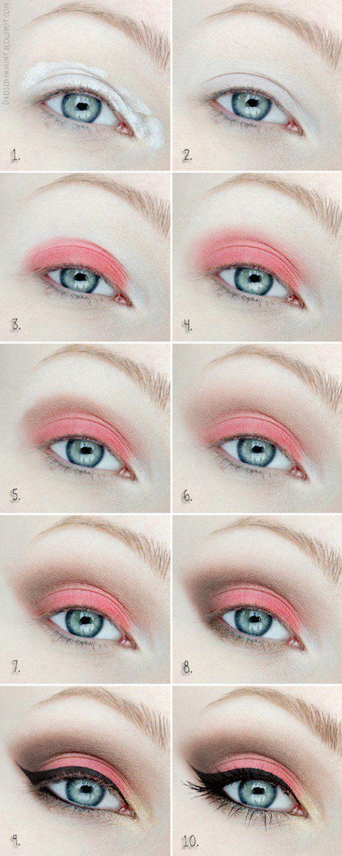 9 fun colorful eyeshadow tutorials for makeup lovers coral cute coral eyeshadow tutorial for beginners 12 colorful eyeshadow tutorials for beginners like you baditri Choice Image