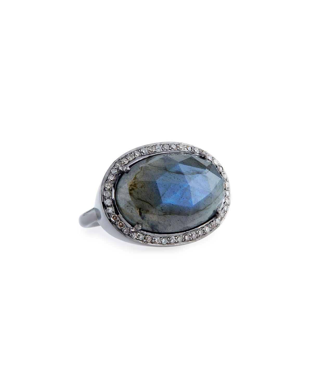 Sheryl Lowe Labradorite Ring with Diamonds, Size 7