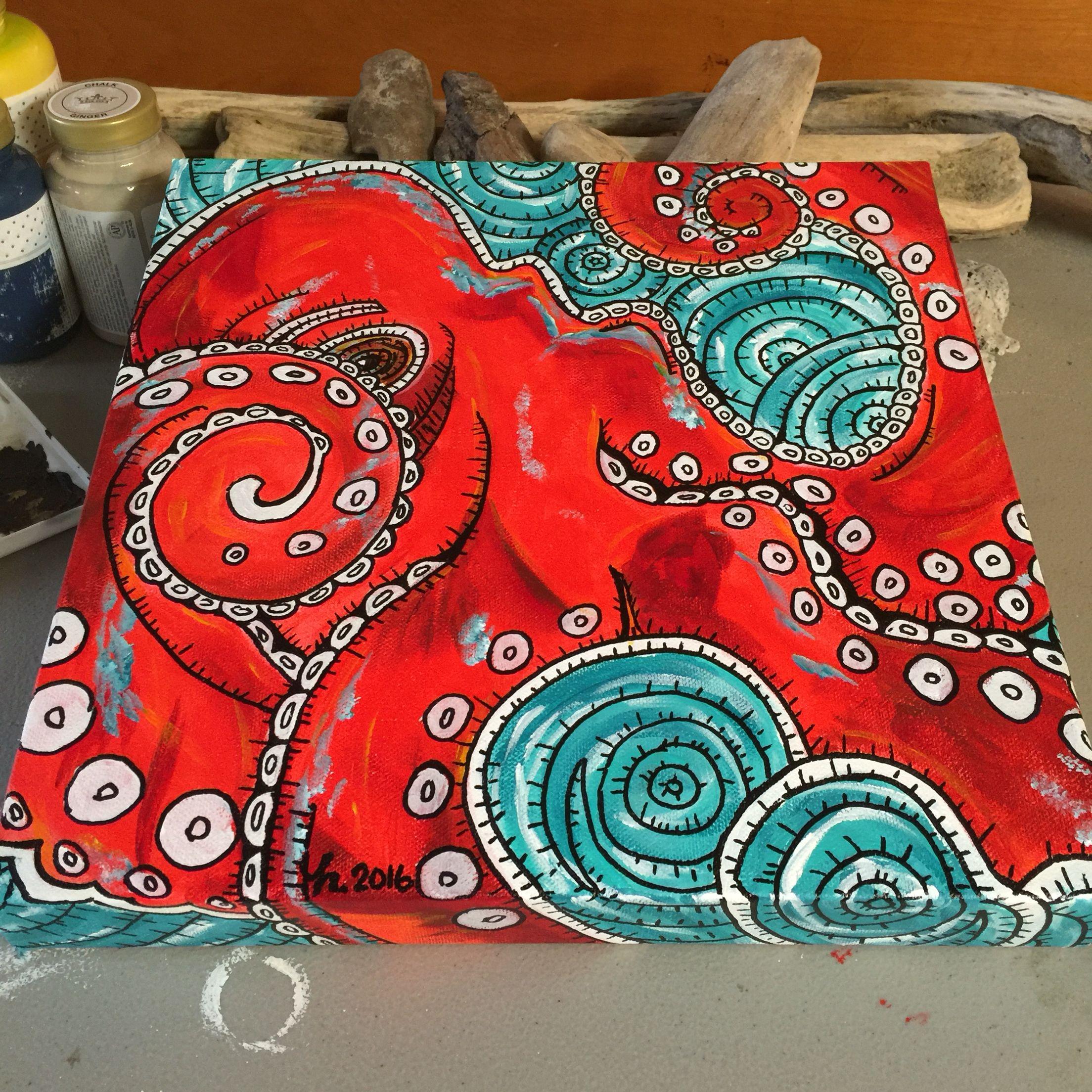 Octopus acrylic painting mY aRt Pinterest