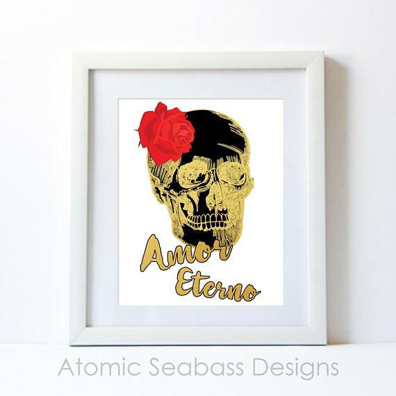Gold Skull Decor Gold Skull Art Gold Artwork Amor Eterno Dia De Los Muertos Skull Rose Gold Room Decor Gold Print PRINTABLE by AtomicSeabassDesigns now at https://ift.tt/2jmT0xv