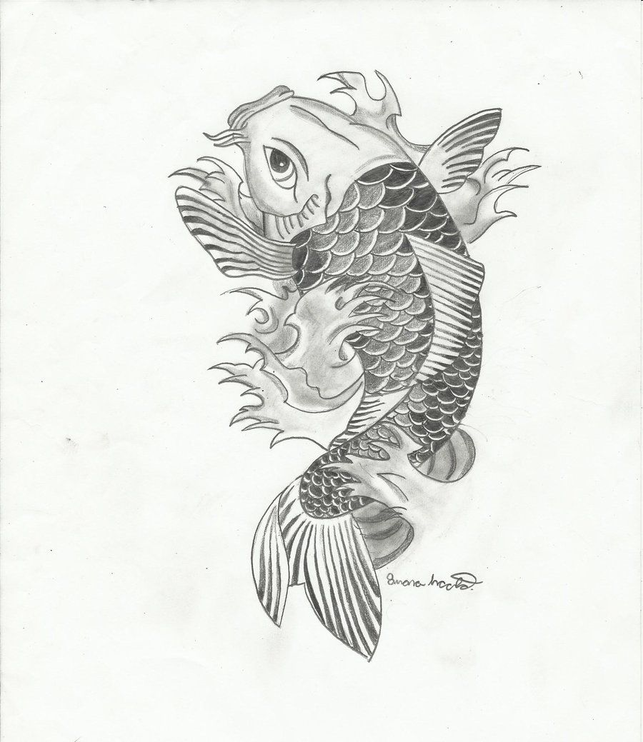 Koi fish 2 by light on for Koi fish drawings