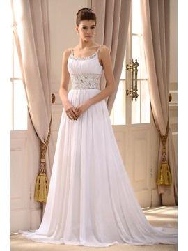 Empire Spaghetti Straps Sleeveless Beaded Court Train Wedding Dress