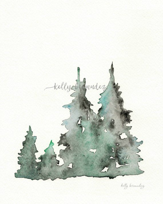 Winters Edge, Winter Tree Watercolor, Printable Art, Printable Watercolor, Instant Download, Wall art
