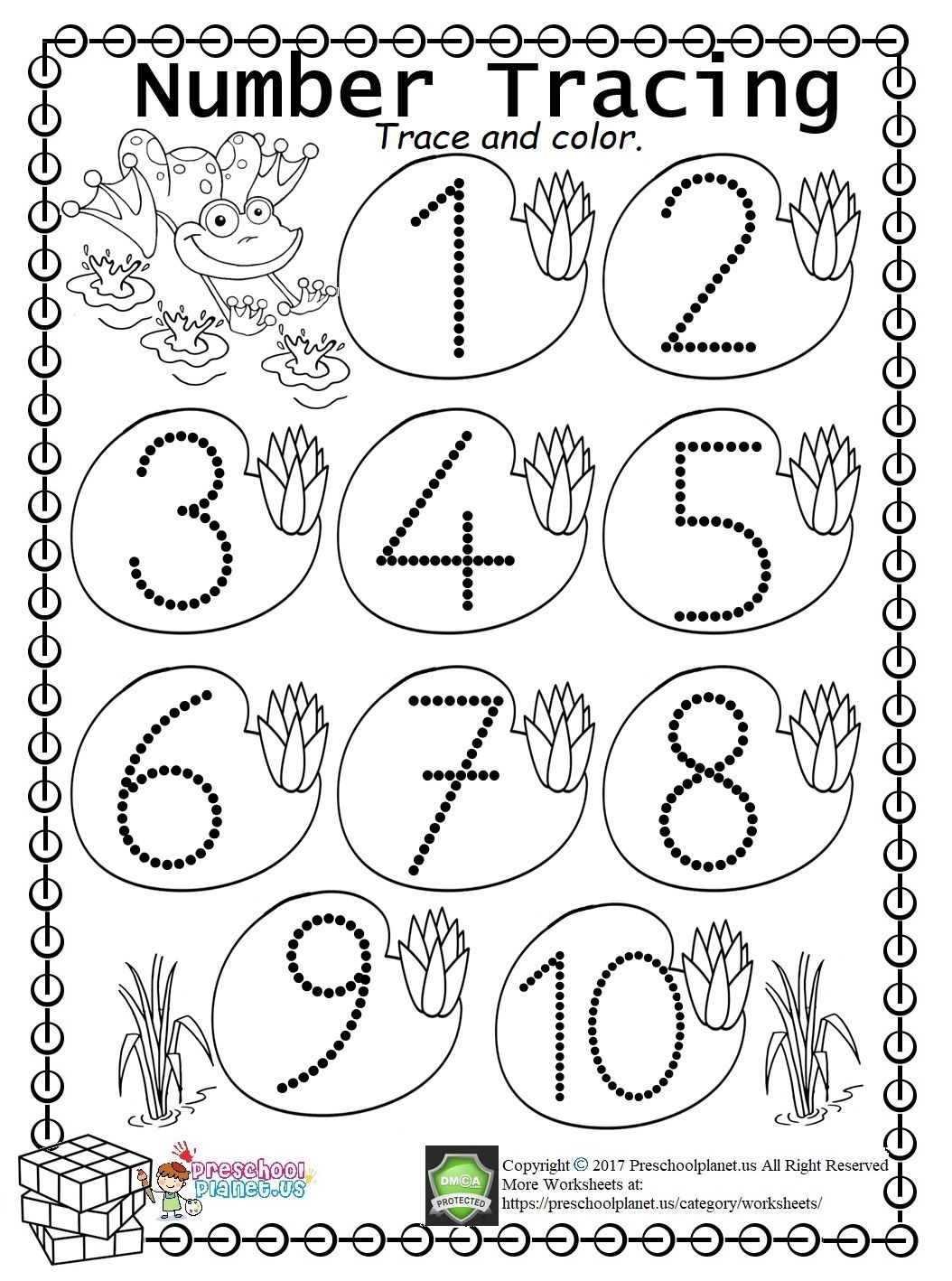 Easy Number Trace Worksheet (110) Kindergarten