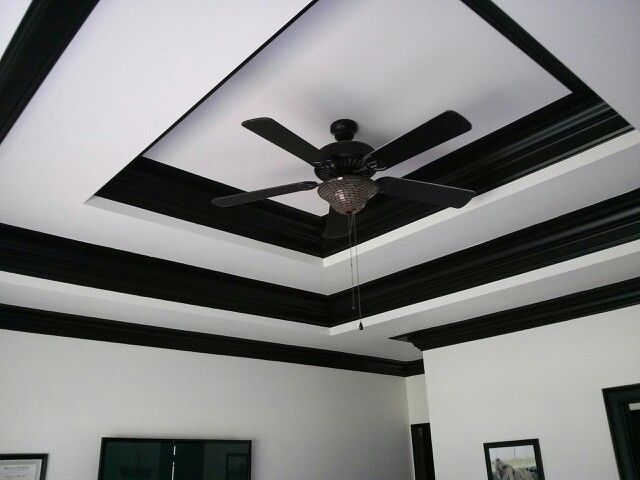 Double trey ceiling in black and white with 2 step crown