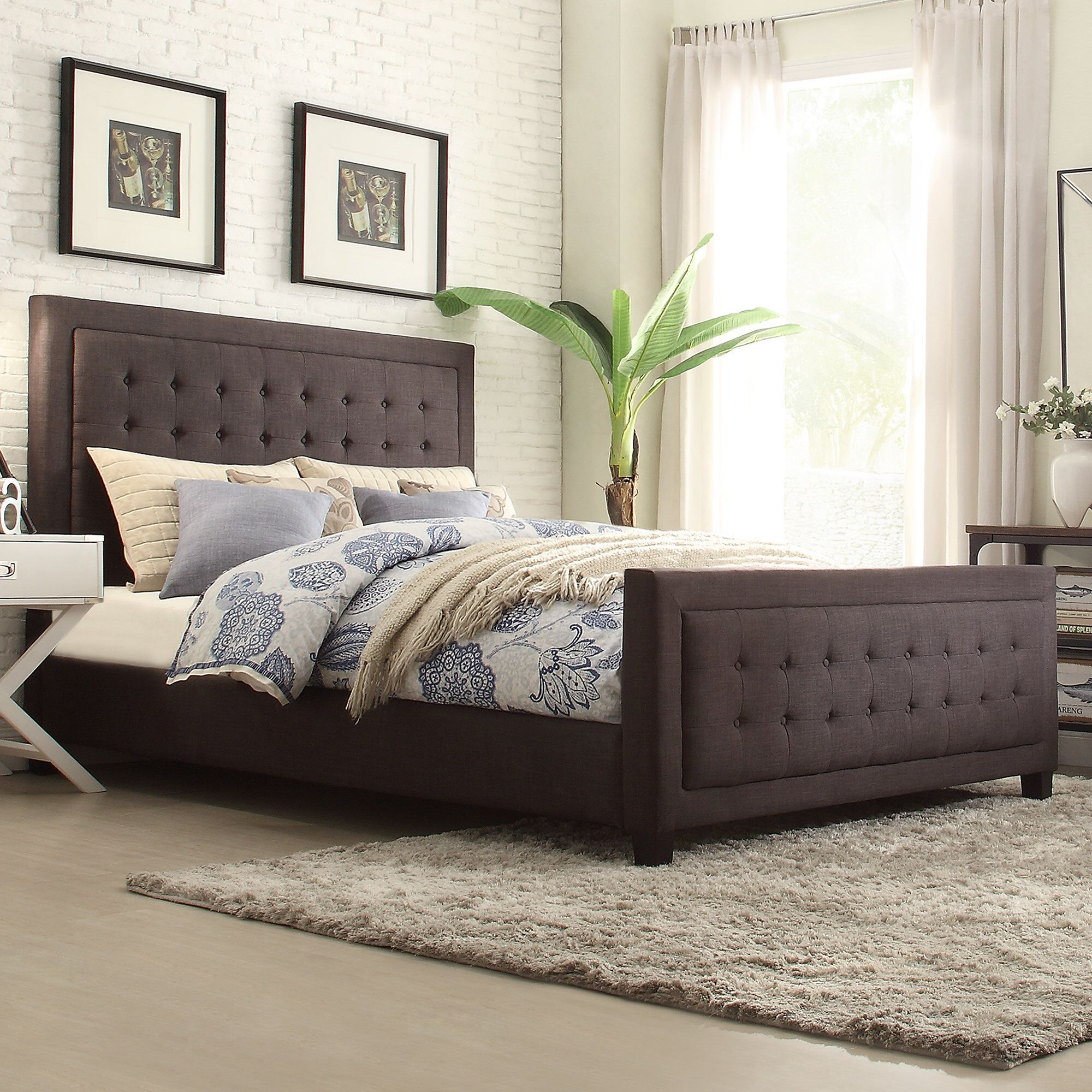 Woodside Upholstered Platform Bed Upholstered panel bed