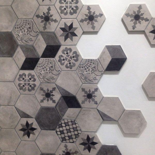 hexagon tiles in a honeycomb effect & Tile trends: wood-effect hexagons concrete-effect \u0026 marble ...