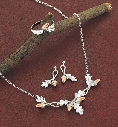 Oak leaf silver and rose gold jewelry pinterest oak leaves oak leaf silver and rose gold aloadofball Choice Image