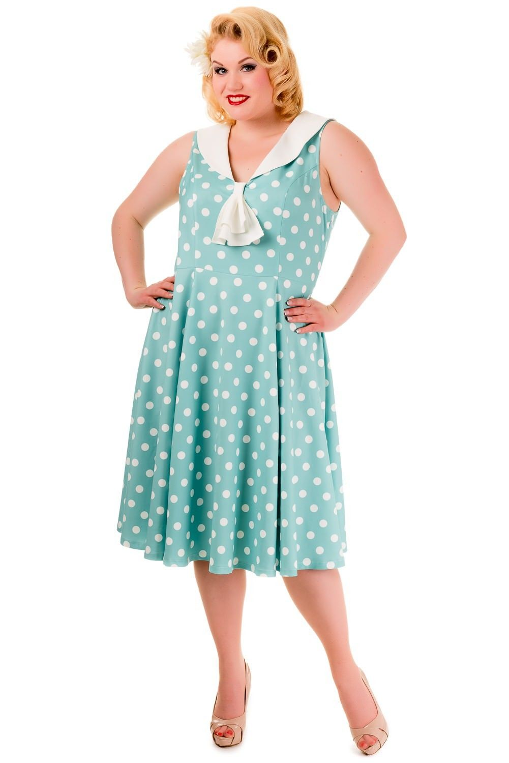 Pin Up Vintage Style Polka Dot Short Sleeve Party Dress - SOLD OUT ...