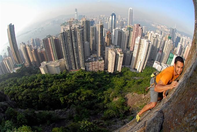 Nathan Kukathas on Peel Street (5.11a), Central Crag, Hong Kong. Photo by Ryan Gellert | ROCK and ICE Magazine