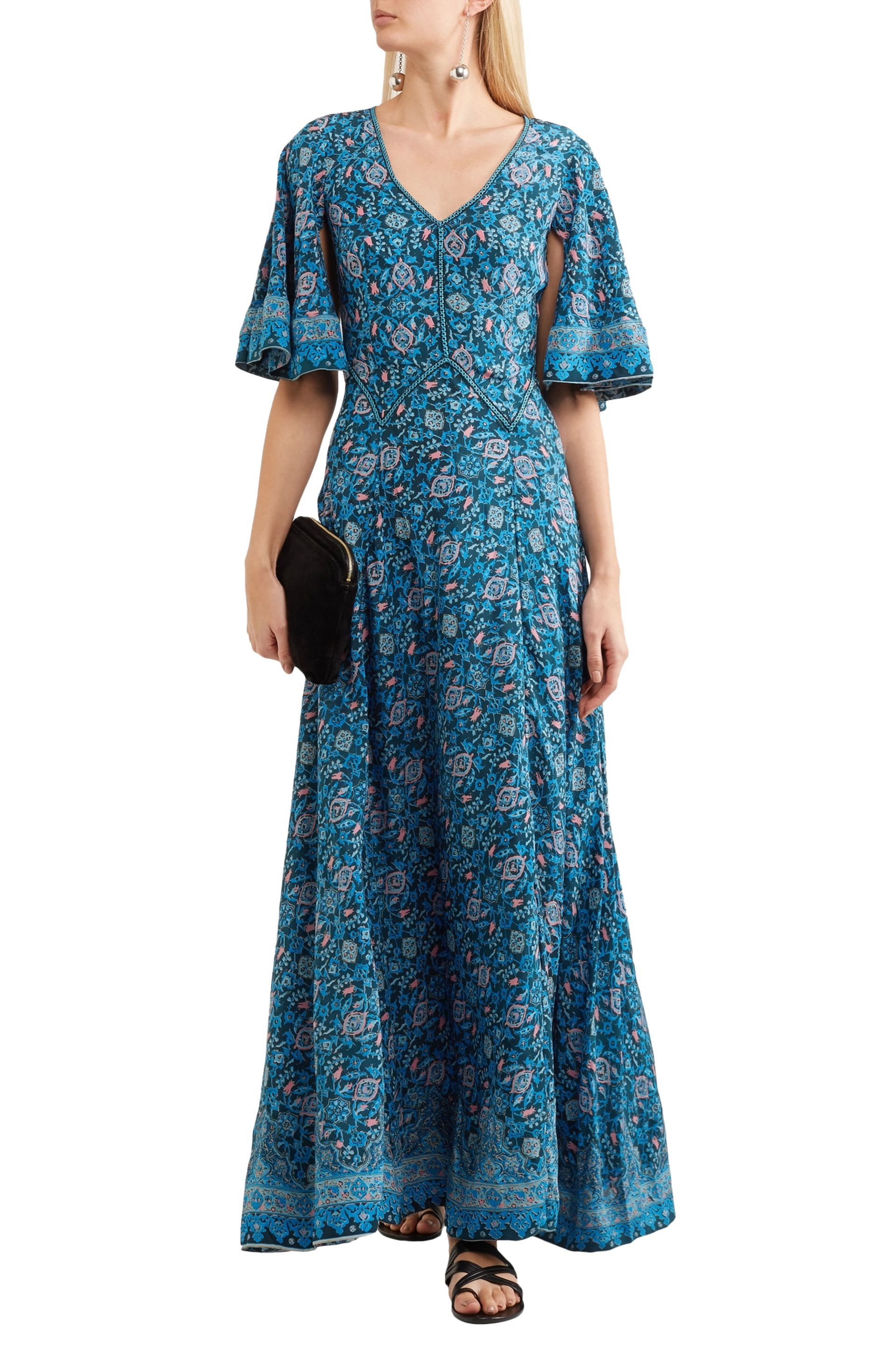 Talitha Woman Printed Silk Crepe De Chine Maxi Dress Navy Size S Talitha HBwLf