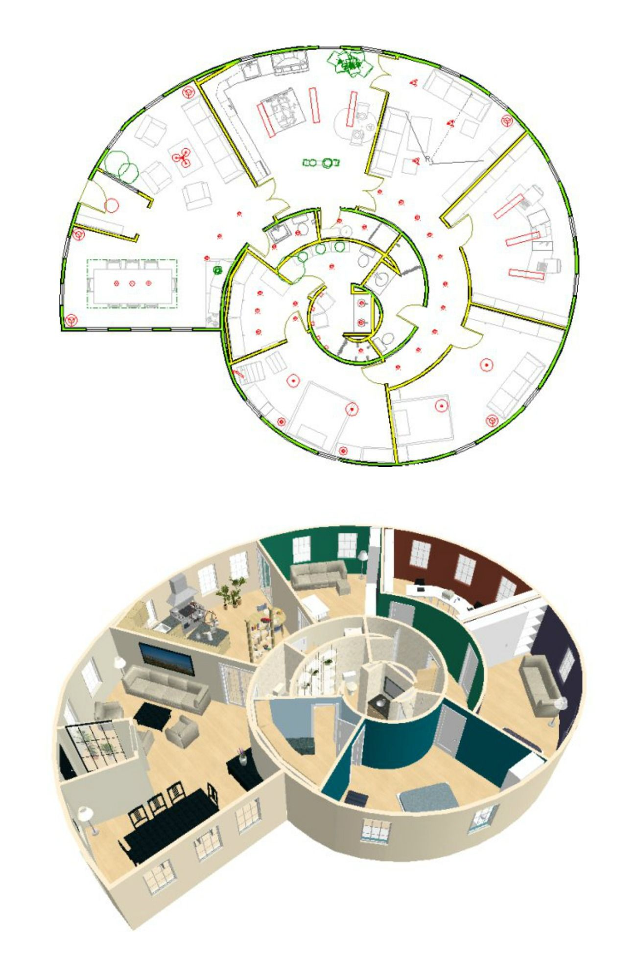 Amazing Snail House Plan Round House Plans Round House Home Design Floor Plans