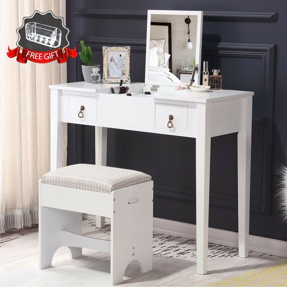 Fabulous Vanity Makeup Dressing Table Set W Stool Flip Top Mirror 2 Ncnpc Chair Design For Home Ncnpcorg
