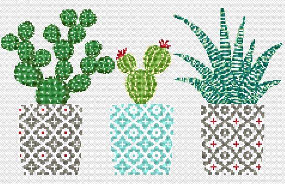 Cactus point de croix motif point de croix géométrique motif broderie naturelle sampler fleur, point de croix floral PDF imprimable cadeau moderne   – Bloemen