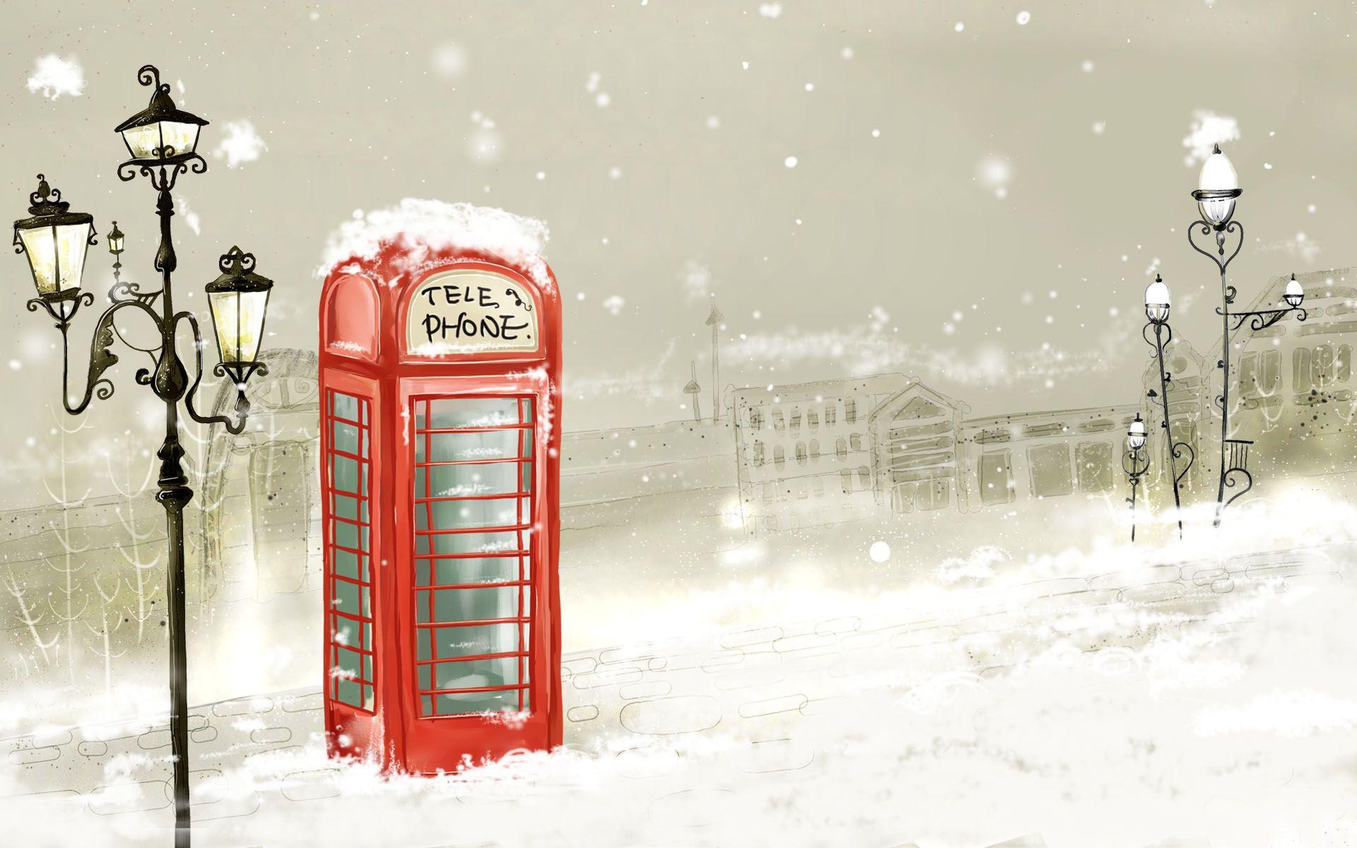 Http Imgs Mi9 Com Uploads Cartoon 485 Lonely Telephone Box 1920x1200 7404 Jpg Christmas Desktop Wallpaper Christmas Desktop Winter Wallpaper
