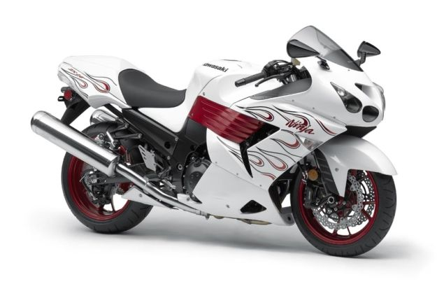 White Crotch Rocket With Red Wings Kawasaki Ninja Zx 14r