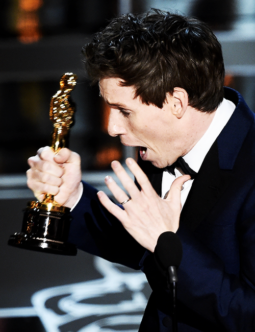 For his portrayal of young Stephen Hawking, Eddie Redmayne accepts his Academy Award for Best Actor on stage at the 87th Oscars February 22, 2015 in Hollywood, California.