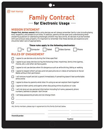 Net nanny parental controls family contract for electronic device usage