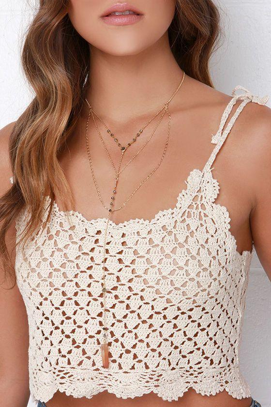 Billabong Dream Lover Cream Crochet Crop Top | Blusas, Tejido y ...