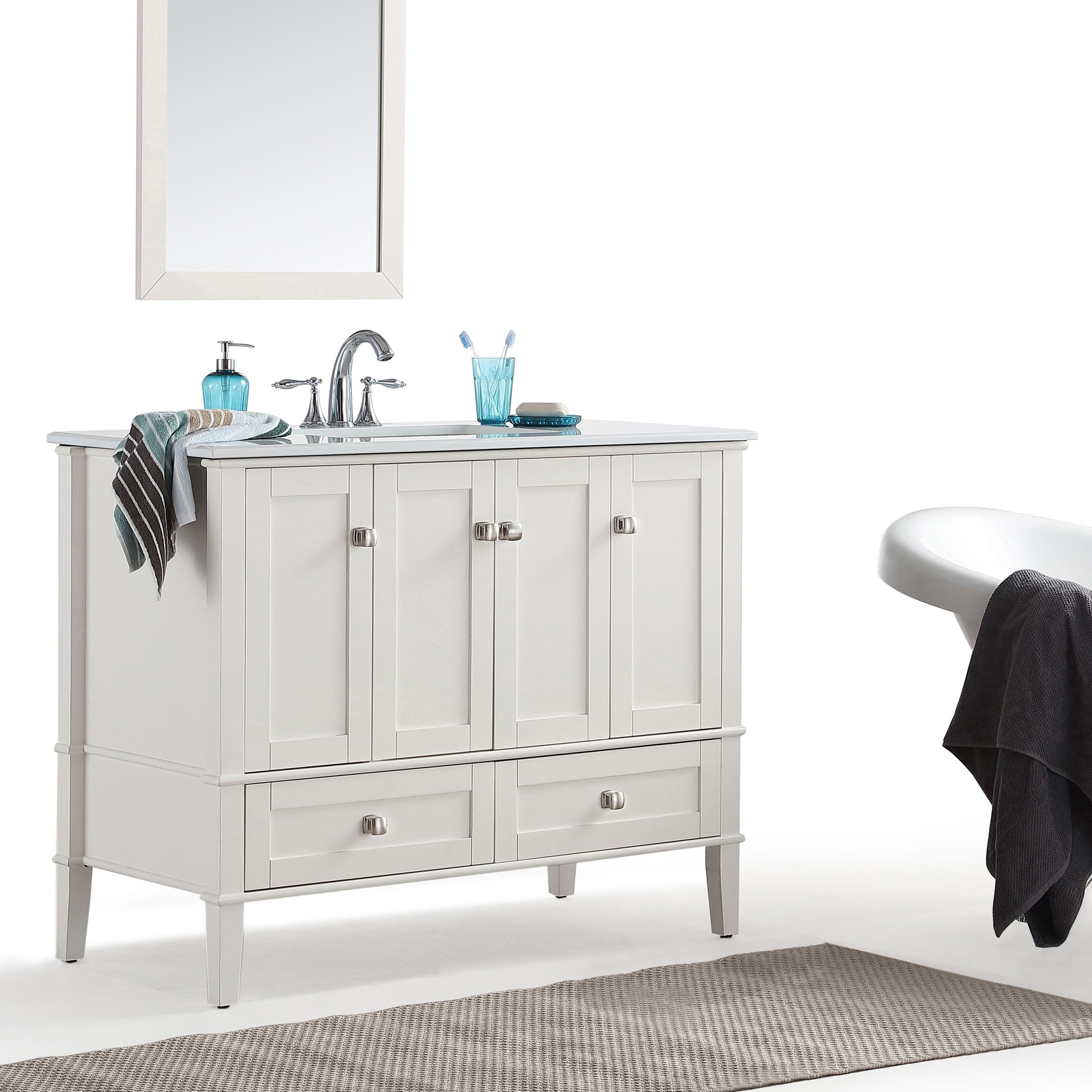 Wyndenhall Windham Soft White 42-inch Bath Vanity with White Quartz Marble Top (White), Size Single Vanities