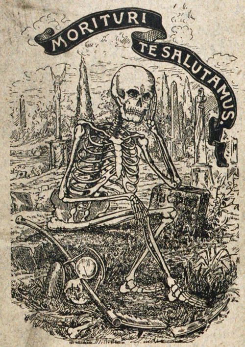 """Pictured above is the cover of the 1894 annual report from the Thirteen Club, a club dedicated to disproving the myth of bad luck associated with the number 13. Note the broken hourglass and scythe. """"Morituri Te Salutamus,"""" translates to """"We who are about to die salute you."""""""