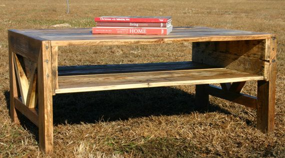 Reclaimed Wood Coffee Table With Shelf by GreenSouthLiving