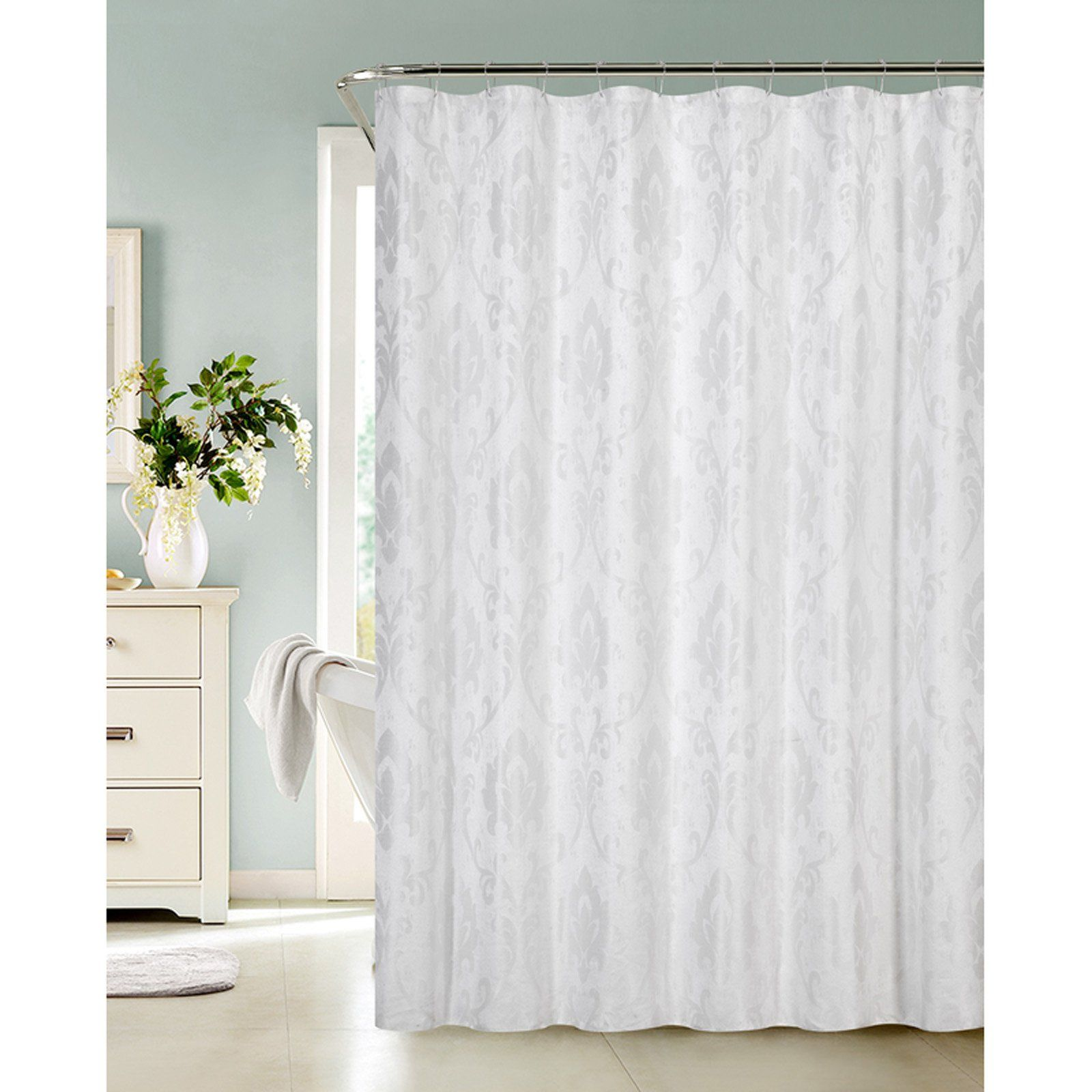 Dainty Home Vienna Shower Curtain White Fabric Shower Curtains