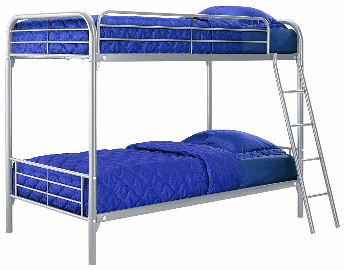Twin Over Twin, Metal Bunk Bed - Silver
