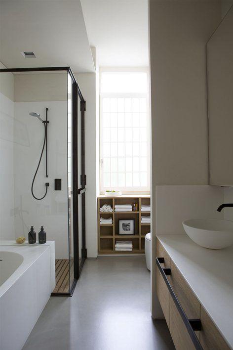 Mooie combi van kleuren en materialen casa pinterest douche wanden bril en zwarte velgen - Badkamer lay outs met douche ...