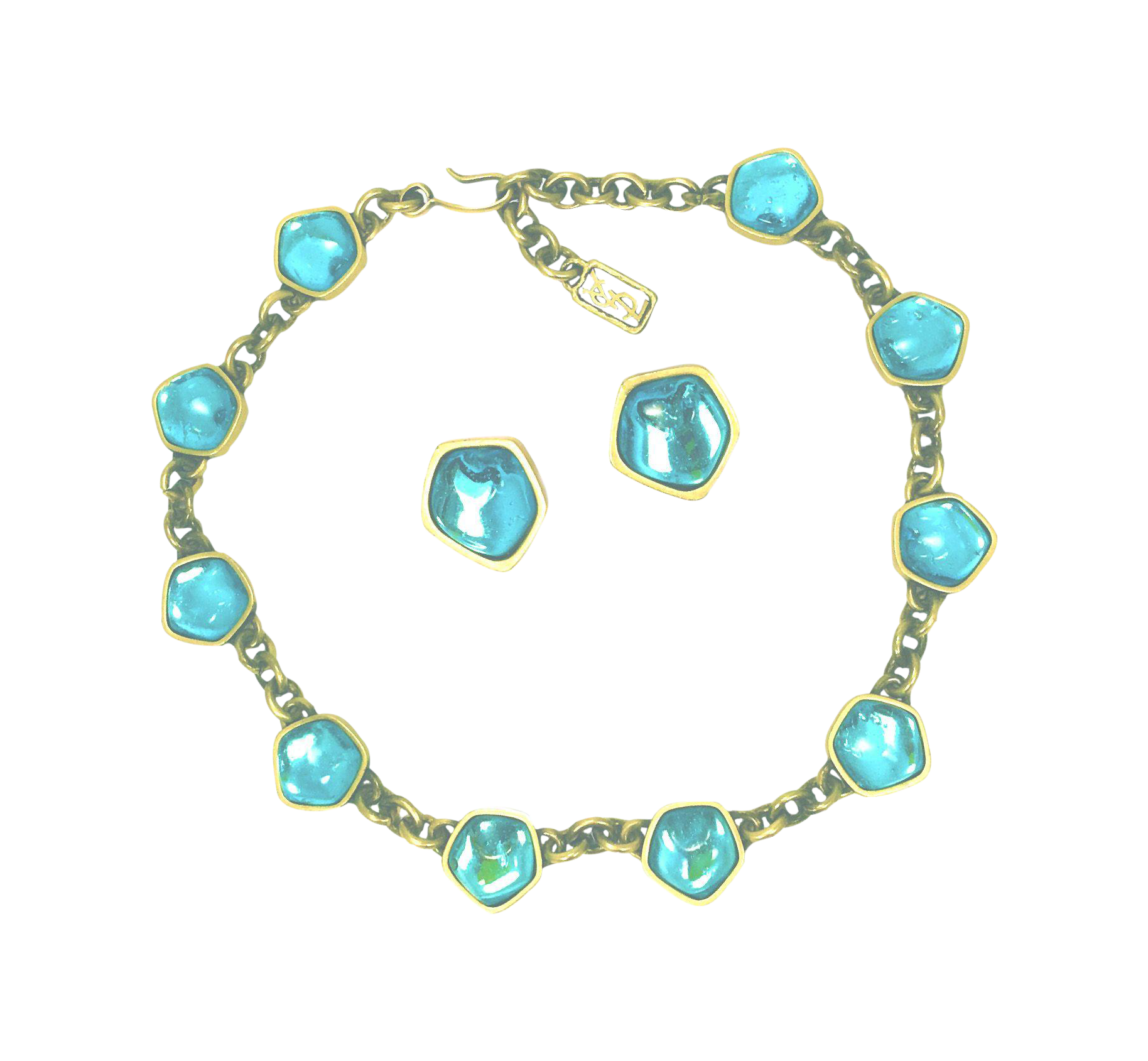 YSL Poured Glass Necklace u Earrings Vintage Couture Jewelry