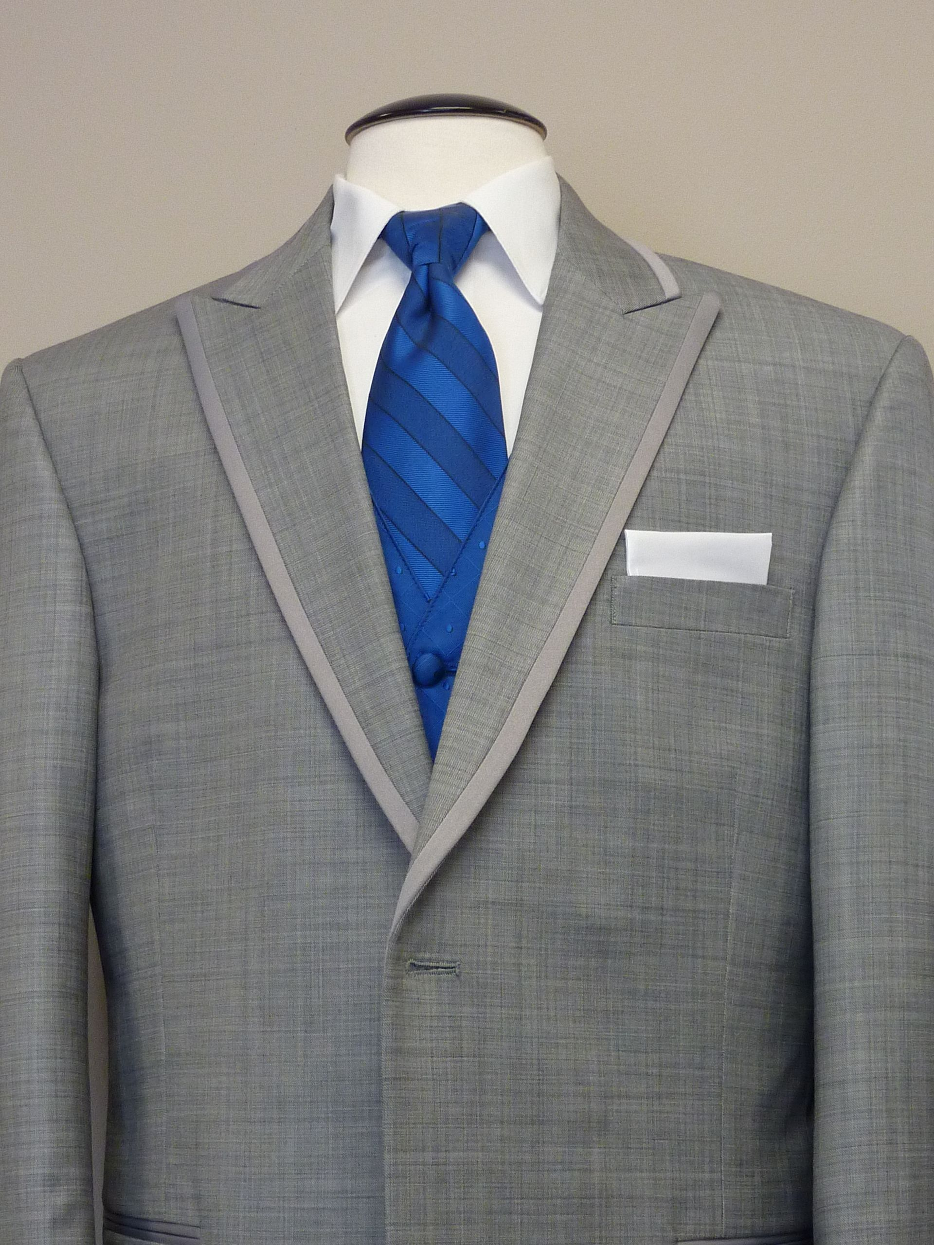 Groomsmen Grey Tux White Shirt Royal Blue Tie And Vest