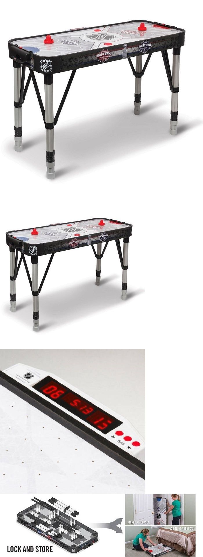 Air Hockey 36275: Air Hockey Table Nhl Air Powered Kids Led Scoring Sound  Adjustable 54Inch