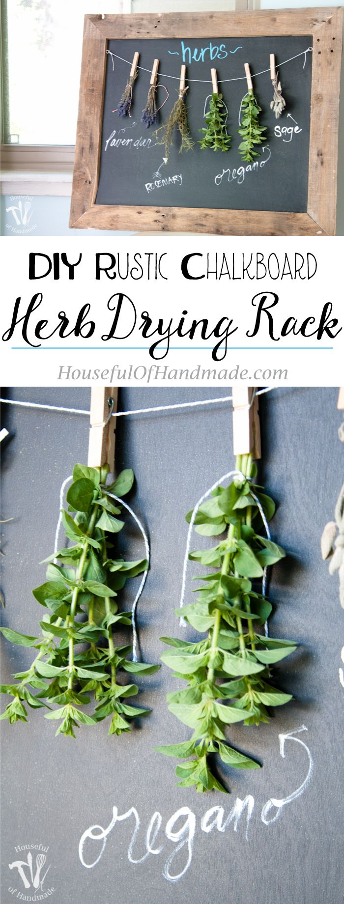 Make drying your herbs a part of your decor with this DIY rustic chalkboard herb drying rack. It's made from an old pallet and makes preserving herbs beautiful. | Housefulofhandmade.com
