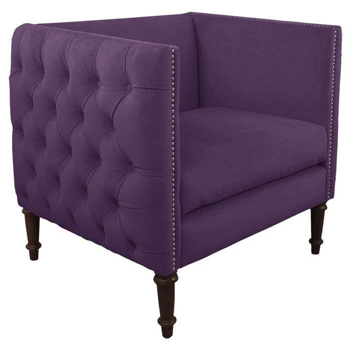 Beautiful Tufted Accent Chair In Purple Design And Decor
