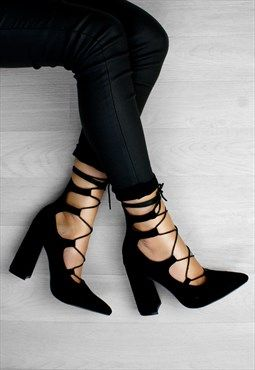 Lace Up Pointed Block Heels In Suede