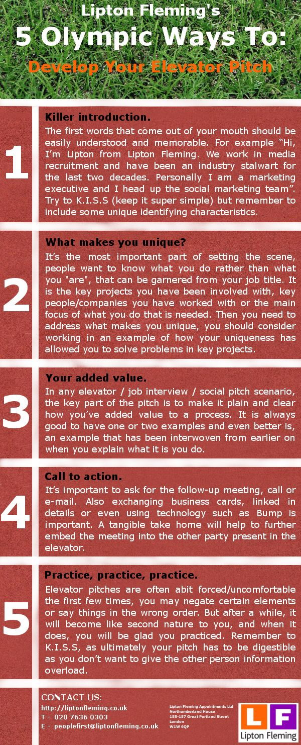 5 olympic ways to develop your elevator pitch infographic wall